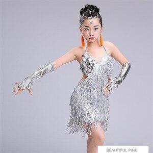 Image 1 - child kid children professional latin dance dress for girls ballroom dancing dresses for kids red sequin fringe salsa tassel