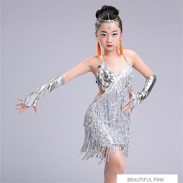child kid children professional latin dance dress for girls ballroom dancing dresses for kids red sequin fringe salsa tassel