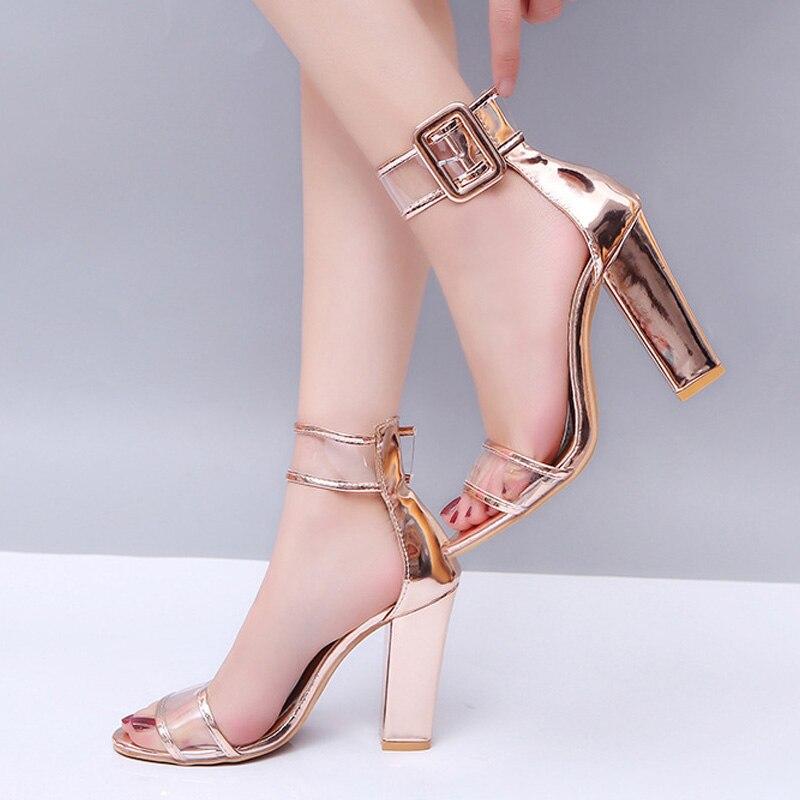 719e36cc882 Eilyken Gold High Heels Women Sandals Open Toe Stiletto Round Heels ...