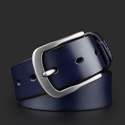 Auspicioso occidental-Cinturón de piel auténtica para hombre, correa de piel de vaca de café azul a la moda con hebilla de alfiler de aleación de calidad, de fábrica