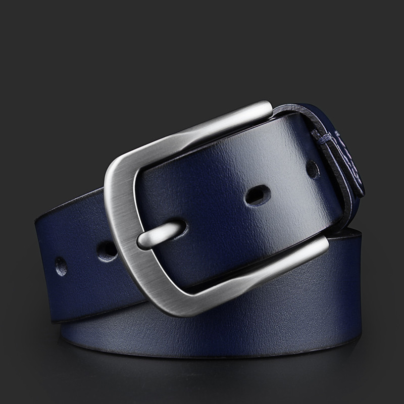 WESTERN AUSPICIOUS Belt Men Genuine Leather Belt Fashion Blue Coffee Cowskin Man Strap With Quality Alloy Pin Buckle By Factory