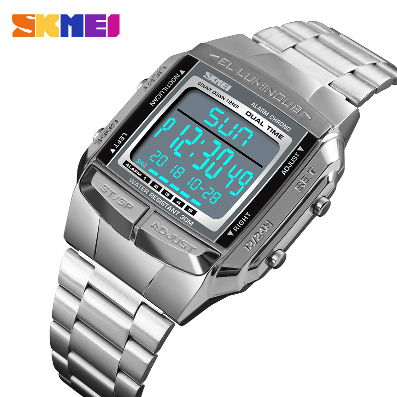 2adc7d4ee44 SKMEI 1381 Sports Watch Men Digital Watch Alarm Clock Countdown Watch Large  Dial Glass Mirror Clock Outdoor
