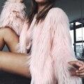 5 Colores 4 Tamaños de Las Mujeres de Invierno Faux Fur Abrigos Chaquetas de Color Rosa negro Abrigo de Piel Chaquetas de Las Mujeres Espesar ropa de Abrigo De Piel Falsa Caliente SWQ0080-4