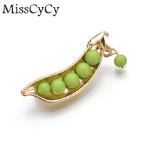 Japanese Style Green Pea brooch Gold Color Statement Accessory Sweater Collar Brooch Pin Sweater Suit Brooch 2016 Fashion(China)