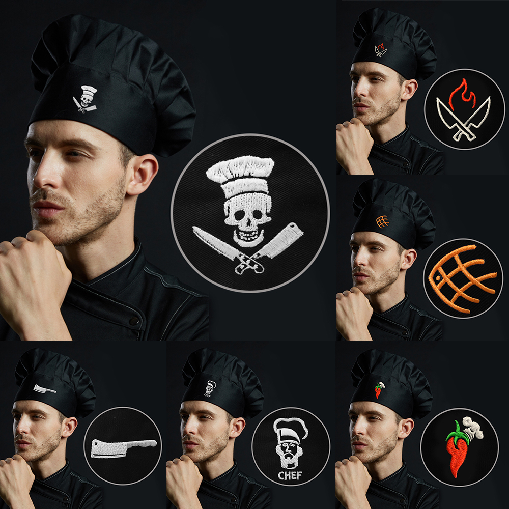 Chef Kitchen Hat Unisex Men Women Chef Waiter Uniform Cap Embroidered Design Cooking Bakery BBQ Grill Restaurant Cook Work Hat