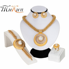 MUKUN New Fashion Costume Jewellery African Women Big Necklace Bracelet Rings Earrings Set Dubai Gold Plating Jewelry Sets