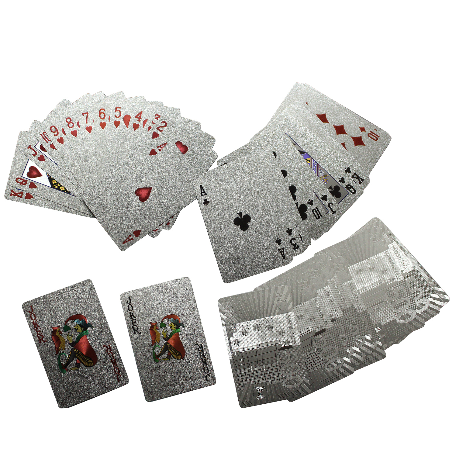 24K Golden Playing Cards Deck Silver Foil Poker Set Magic Card Durable Waterproof Game Cards Euro US Dollar Design Poler Cards 1