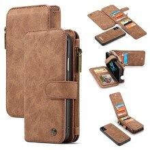 第一層牛革本革フリップケース Iphone XS 最大 XS × XR 多機能ジッパー袋ステッチビジネスハイエンド