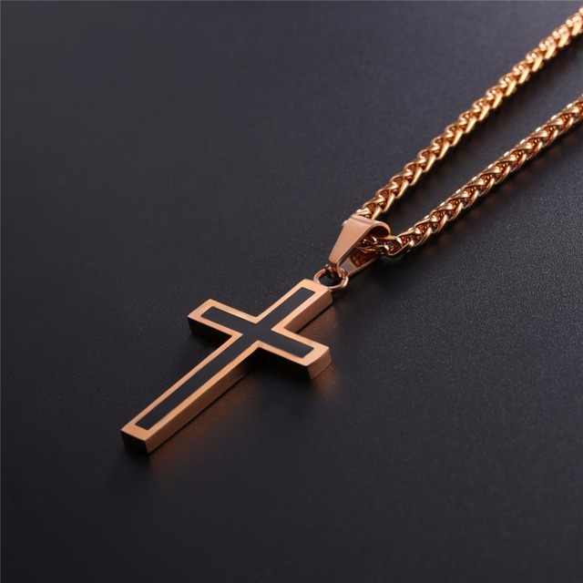 Collare Gold Cross Necklaces Men 36L Stainless Steel Religious Jesus Christian Crucifix Cross Necklace Women Men Jewelry P952