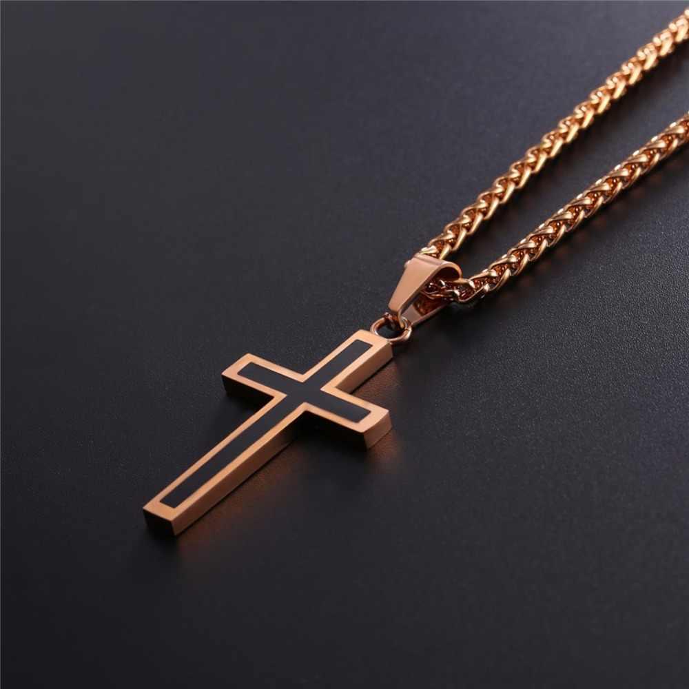 Collare złoty krzyż naszyjniki mężczyźni 36L ze stali nierdzewnej religijne jezus Christian krucyfiks krzyż naszyjnik kobiety mężczyźni biżuteria P952