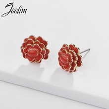 Joolim Jewelry Wholesale/White Red Green Enamal Flower Stud Earrings Lead & Nickel Free for Women
