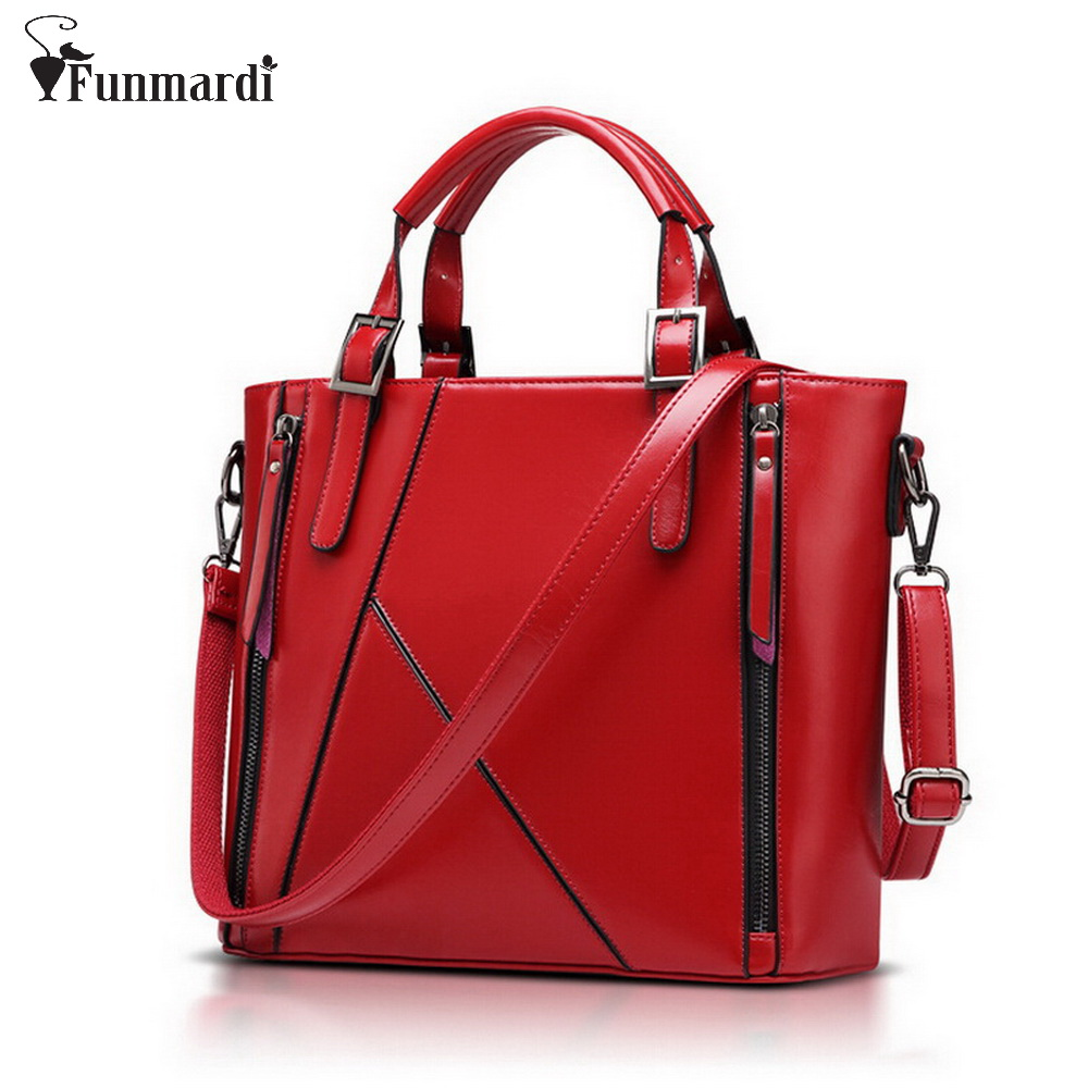 FUNMARDI New Luxury Women Handbag Patchwork Oil Wax Leather Women's Bag Large Capacity Shoulder Bag Brand Famous Tote WLHB949