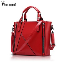 FUNMARDI New2018 Luxury Patchwork Waxy Leather Bag Large Capacity Women Handbag Fashion Shoulder Bag Patent Leather Bag WLHB949