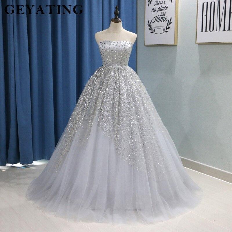 8d35b03eb3d9002 Блестящее серебристо-серое Пышное Бальное платье Бальные платья 2019  Vestidos De 15 Anos без бретелек с кристаллами Длинные фатиновые милые 16  платья