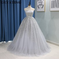 Glitter Silver Grey Puffy Ball Gown Quinceanera Dresses 2018 Vestidos De 15 Anos Strapless Crystal Long Tulle Sweet 16 Dresses