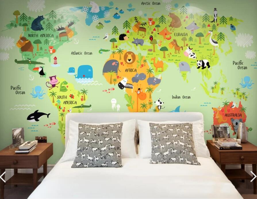 World Map With Animal Wallpaper Mural Printed Papiers Peint 3d Custom Photo Murals  Wallpapers For Nursery Room Home Decor