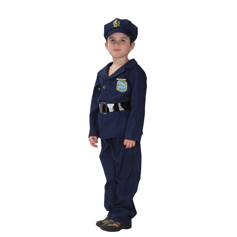 M-XL Navy blue Color Fantasia Movie Anime kids Policeman Cosplay Boys costume Disfraces Halloween Carnival Costume cosplay image