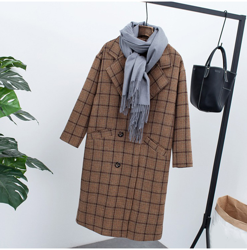 Winter Check Velvet Coat Female Notched Warm checkered Woolen Women's Coats Fleece Office Lady 19 Vintage Long Overcoat Woman 2