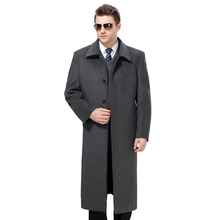 Men Winter Jackets Wool Europe Style Long Woolen Coats Casual Outerwear Warm Single Breasted black