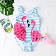 Funfeliz 3D Flamingo Baby Girls Swimwear One Piece Swimsuit for Girl Children Swim Suit Kids  Bather 1T-8T