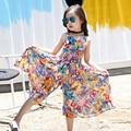 Девушки Платье мода Детская одежда, 2016 Девушки одежду летом разбиты красивые широкие брюки ноги, Принцесса платье сиамские брюки