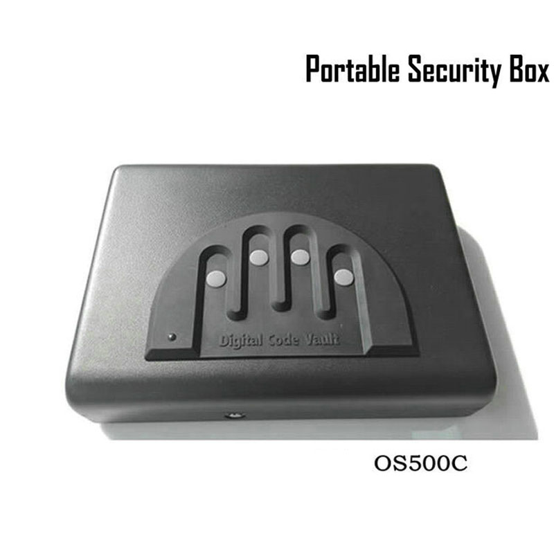 все цены на Password Safe Box Solid Steel Security Combination Lock Key Gun Money Valuables Jewelry Box Protable Security Strongbox OS500C