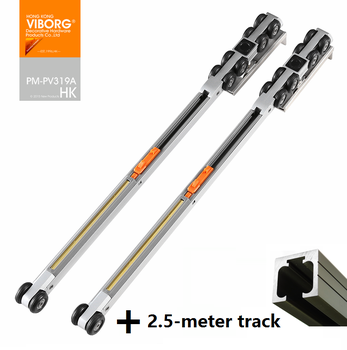 VIBORG 20-wheels Super Smooth&quiet Soft Close Hanging Sliding Door Hardware Set Kit Wheels Roller with 2.5 meter Track Rail - DISCOUNT ITEM  0% OFF All Category