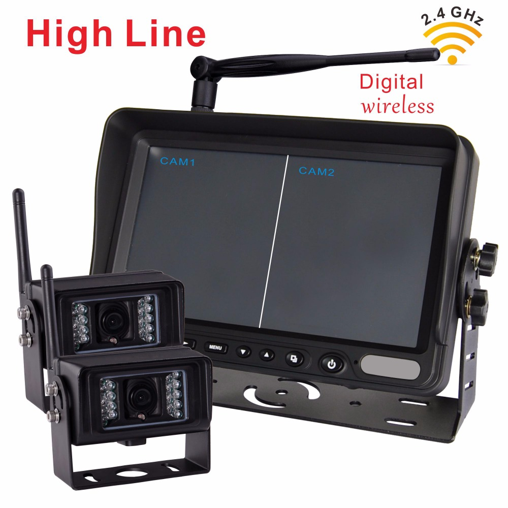 "7"" Wireless 2.4G Rear View Monitor with Wireless Transmission Backup Camera For Farm Tractors Digital Agriculture (2pcs camera)"