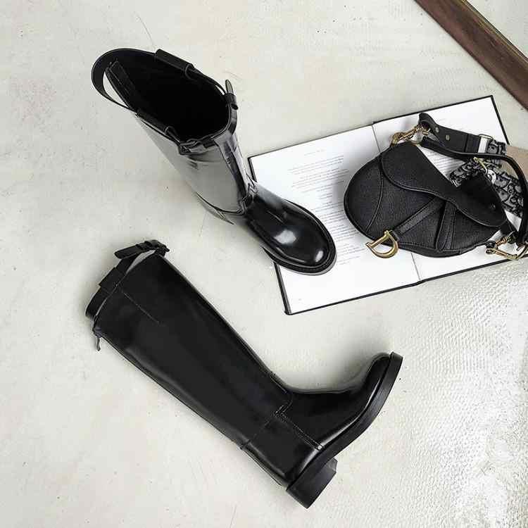 Bersinar Kulit Sepatu Bot Musim Dingin Wanita BLING BLING Kulit Paten Keren Boots Round Toe Chunky Heels Wanita Sepatu Kembali Zip