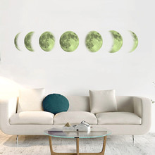 7PCS Creative Moon Luminous Wall Sticker Moon Phase Map Sticker For Home Decor Living Room Mural  Moon On The Wall 13*85cm on the moon