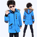 New Arrivals 2016 Winter Boys Coat Plus Thick Velvet Solid Fur Hooded Long Jacket Fashion Children Cotton-Padded Boys Clothes