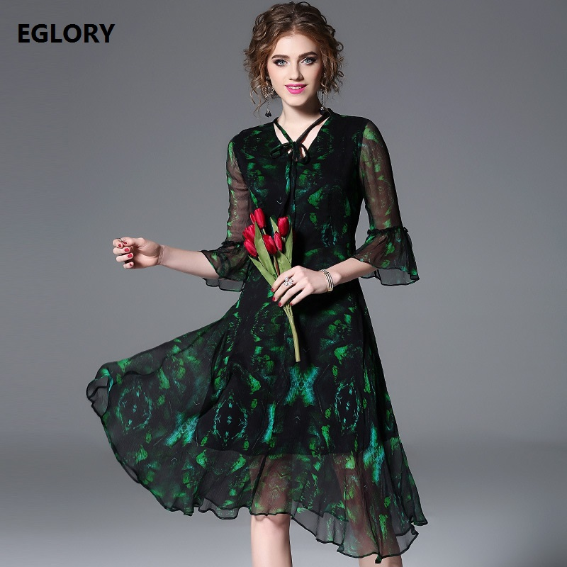 High Quality Brand Women Summer Dress 2018 Ladies V-Neck Green Gradient Color Print Flare Sleeve Big Swing Dress Silk Clothing