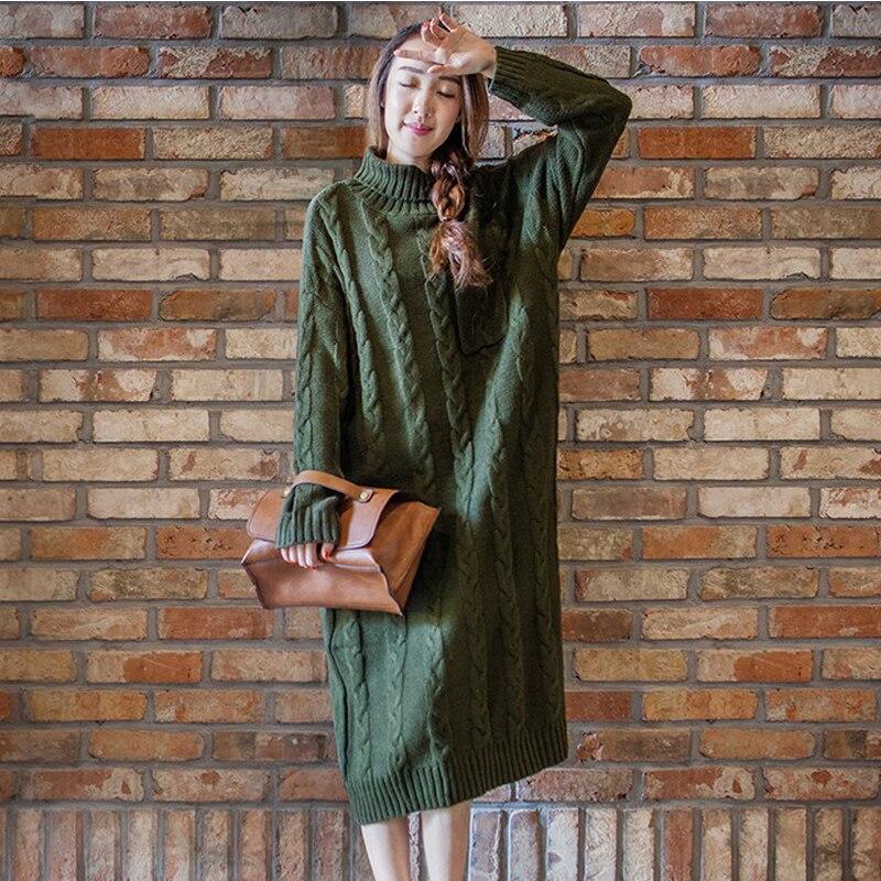 Vintage automne et hiver Long col roulé grande taille robe pull ample droite mi-mollet solide mode femmes pull robes