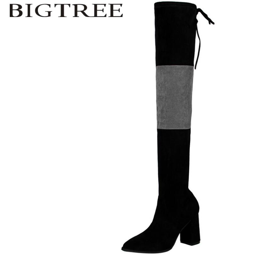 Bigtree 2017 New Autumn Slip-On Women Over -the-knee Boots Sexy Suede Slim Women Motorcycle Thigh High Boots Shoes Woman Gray autumn winter women boots stretch faux suede slim thigh high boots fashion sexy over the knee boots high heels shoes woman 35 43