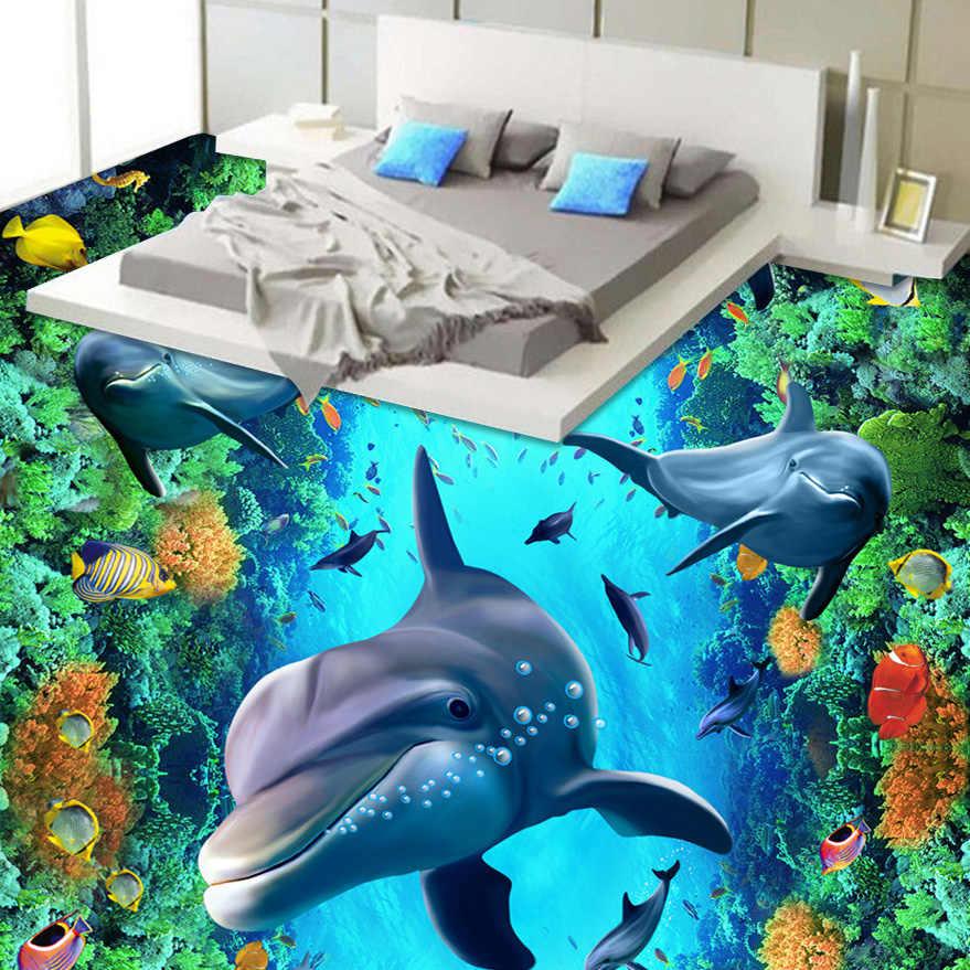 CUSTOM 3D พื้นวอลล์เปเปอร์ใต้น้ำ Dolphin ไวนิลภาพจิตรกรรมฝาผนัง De Parede PVC กันน้ำสติกเกอร์ผนังกระดาษ