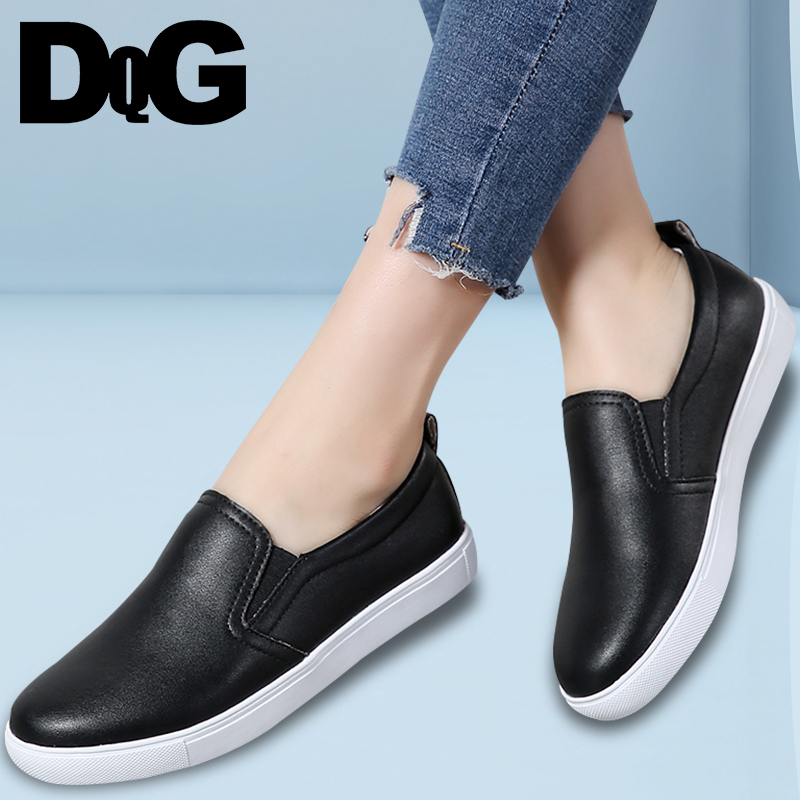 DQG 2018 Spring Women Shoes Casual Solid White Flats Zapatos Mujer Slip On Ladies Loafers Chaussures Femme Leather Zapatillas цена