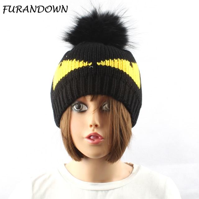 Winter Female Knit Beanie Skullies Real Raccoon Fur Pompom Hat