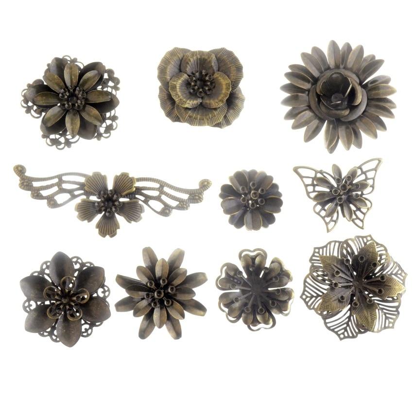 Frete grátis 2PCs Antique Bronze/Branco K Filigrana Flor Wraps Conectores Enfeites Artesanato Presente Decoração DIY