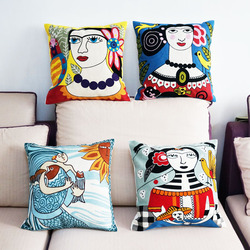 Cotton Nordic Mythology Character Embroidered Square Pillow Cover Cushion Case Sofa Chair Cushion Cover 45x45cm Without Stuffing