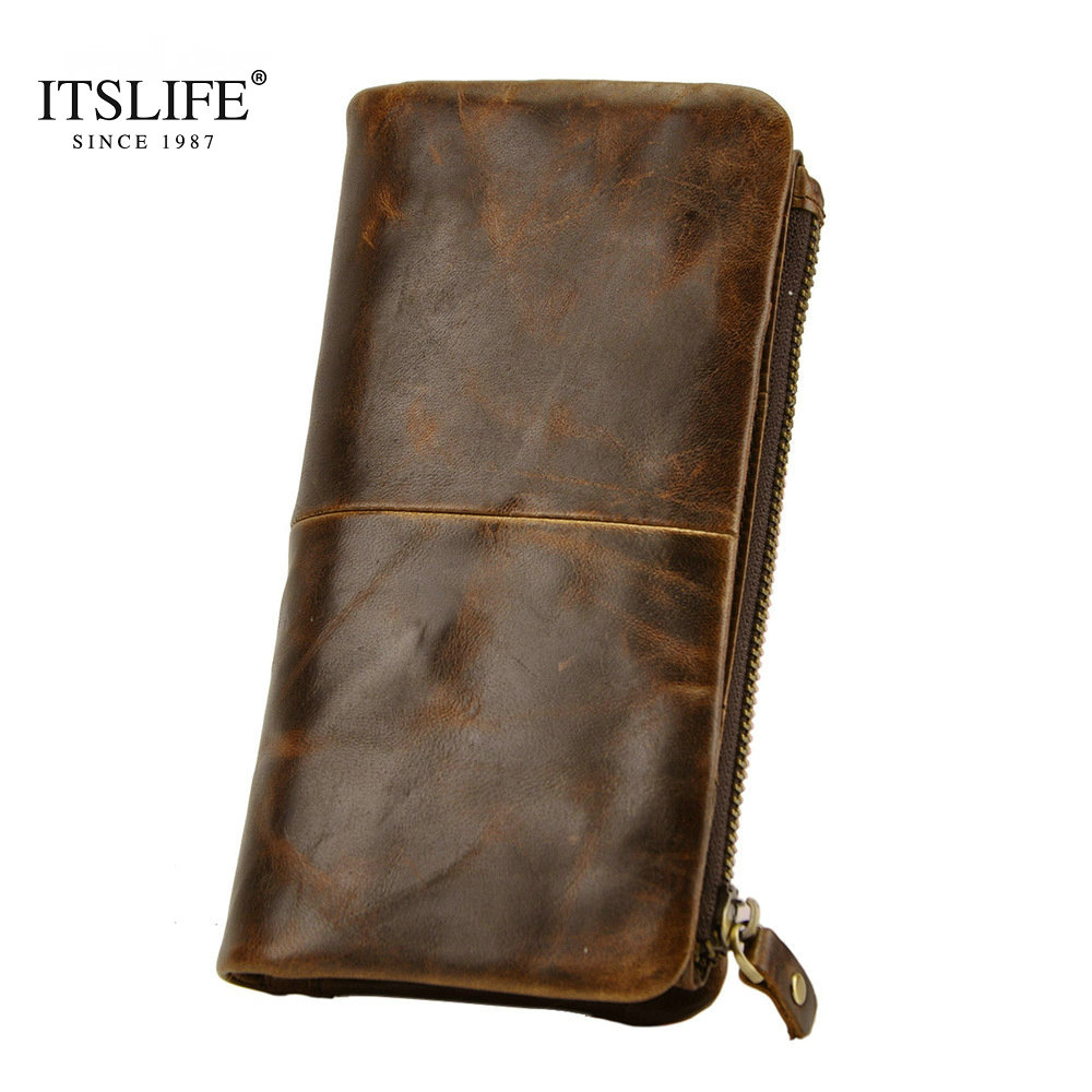 New Mens first layer of real leather wallet men oil wax leather retro long Purse high-ca ...