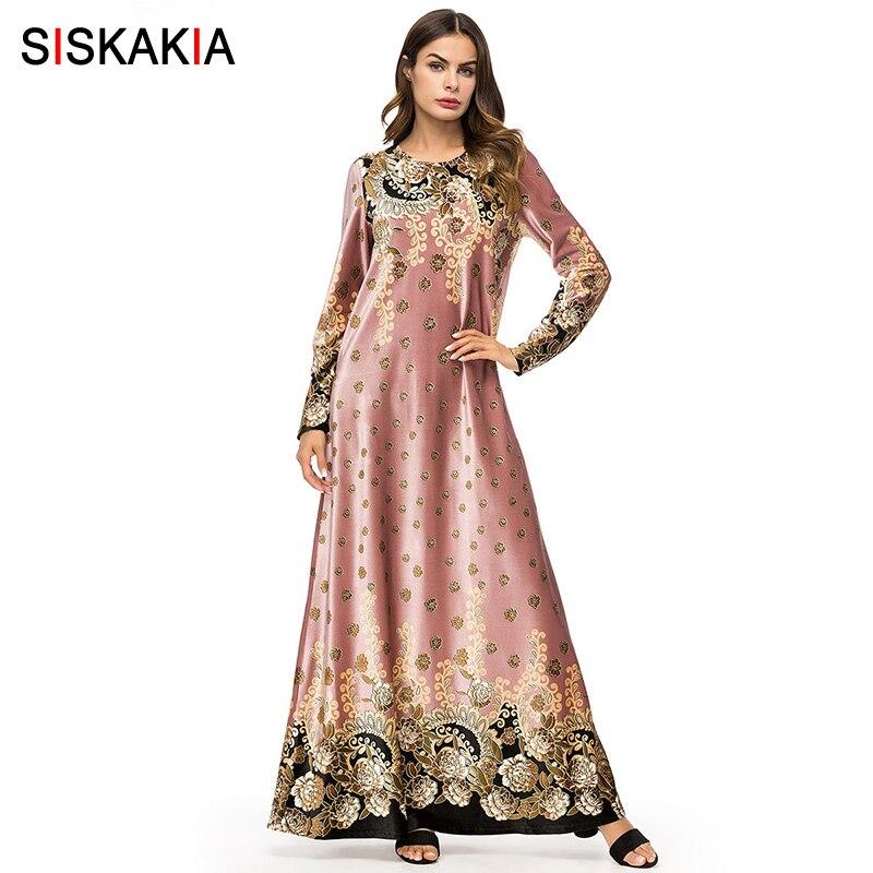 Siskakia Velvet Long Dress Autumn 2019 Elegant Women Delicate Ethnic Printing Long Sleeve Dresses Royal Pink