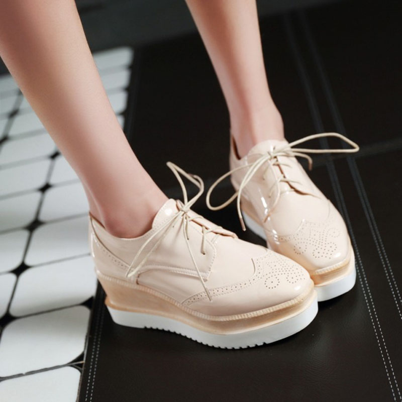 Women's Platform Shoes Leather Lace Up Brogue Flats Shoes Handmade Creepers Oxford Shoes For Women Plus Size Chaussure Femme women brogue shoes lace up oxfords for women black white platform shoes woman beading thick bottom pu leather flats plus size 43