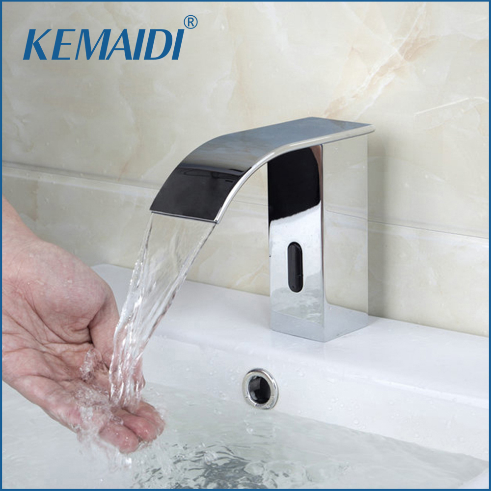 KEMAIDI Automatic Sensor Waterfall Bathroom Faucet Sink Faucet Chrome Hot And Cold Mixer Tap Bathroom Sense Faucets DD-8007 automatic sensor polish chrome waterfall bathroom basin faucet cold tap plate
