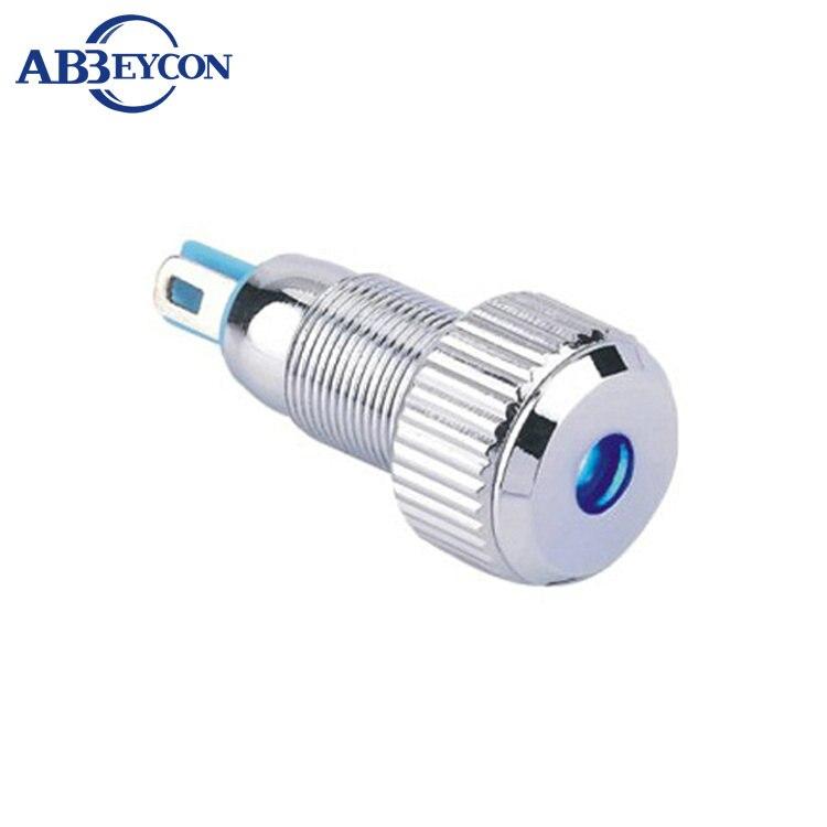 White LED 8mm Flat Metal Panel Indicator 12V