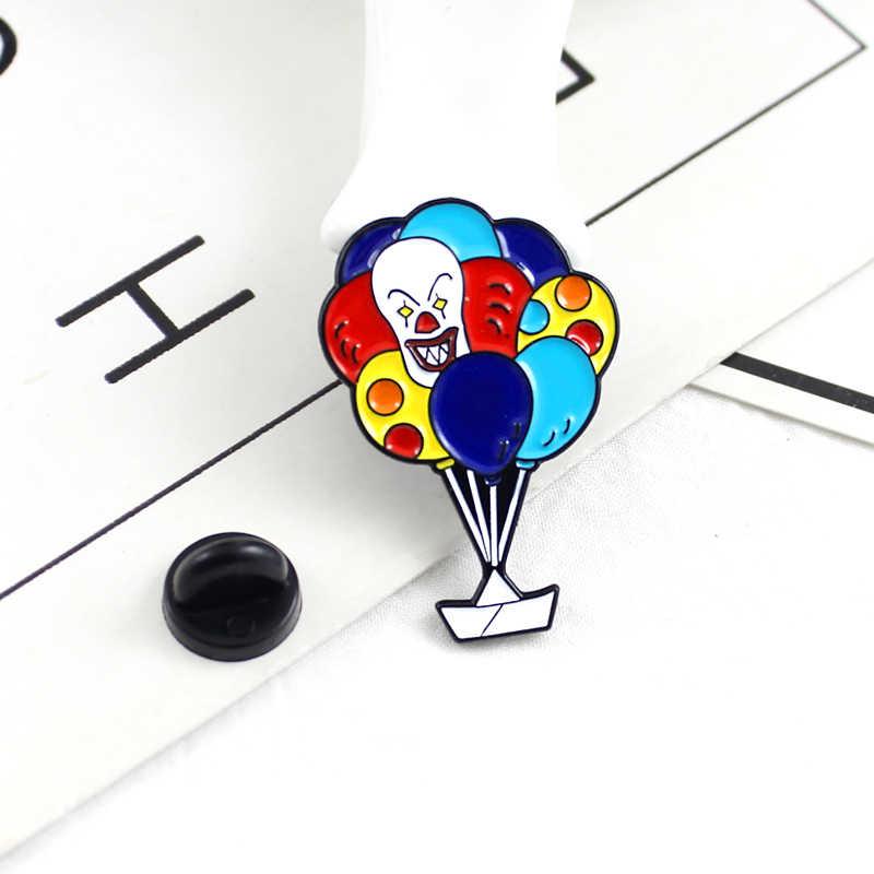 Клоун узор красочные воздушные шары Lucky корабль мультфильм эмаль брошь Милые креативный значок детский подарок Джинсовый Рюкзак булавки