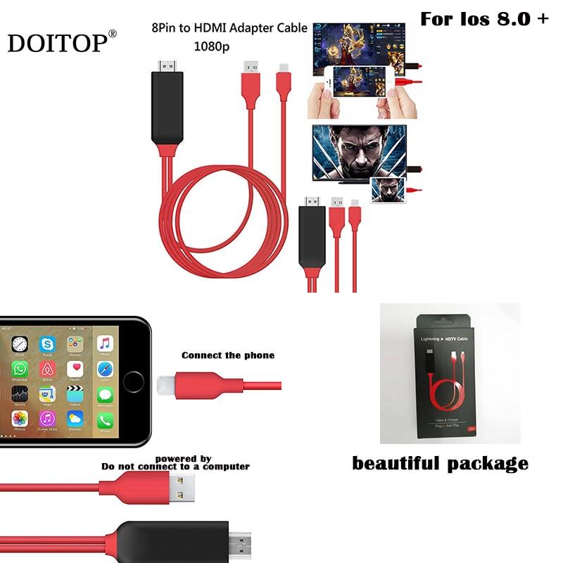 8 Pinos para Cabo HDMI HDTV Adaptador AV TV Digital USB HDMI 1080 P Cabo Conversor para Apple tv inteligente para o iphone 7 6 S Plus Ios 8.0 +