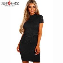 SEBOWEL 2018 Black Wine Sexy Lace Party Bodycon Dress Women Summer Elegant Short  Sleeve Mini Peplum Dresses Vestidos Femme S-XL 1cb2a50f55f7