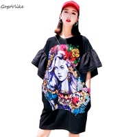 Cool Top Tees Flower GIRL Print Black HARAJUKU 2018 New Summer T Shirt Flare Sleeve Women