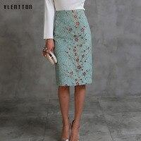 2018 New Spring autumn Women Pencil Skirt High Waist Flower Bodycon Midi Skirt Ladies Digital Print Green Slim Hip Office Skirt