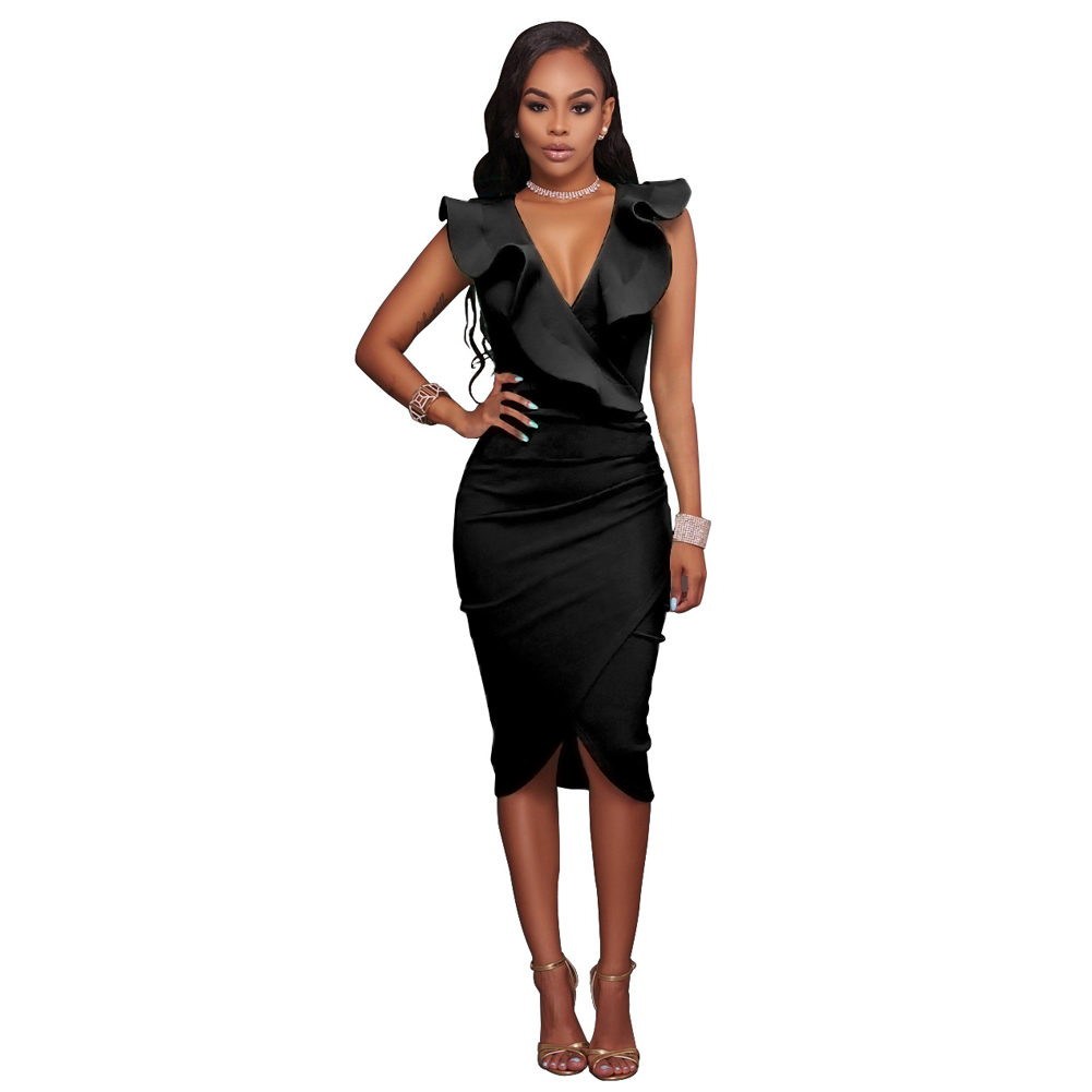 Sexy Slim Bodycon Dress Women Midi Dress Ruffled V Neck Sleeveless ... 8aa713be0eb3
